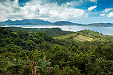 PHILIPPINES, Palawan, Sabang, roadside mountain and ocean view on the drive from Barangay to Sabang