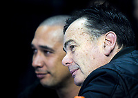 2019 Saints coach Paul Henare (left) and Nick Mills watch the national basketball league semifinal match between Nelson Giants and Southland Sharks at TSB Bank Arena in Wellington, New Zealand on Saturday, 4 August 2018. Photo: Dave Lintott / lintottphoto.co.nz