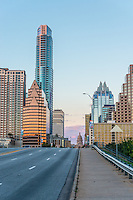 This is a look up Congress Ave in Austin Texas around sunset.  You can see the congress bridge with some of the skyscrapers along Congress plus at the end you can the Texas Capital