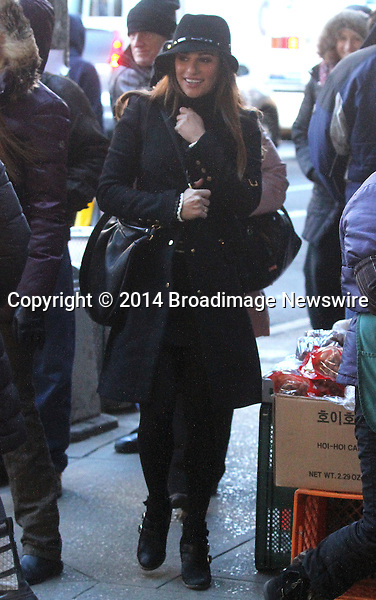 Pictured: Lea Michele<br /> Mandatory Credit &copy; DDNY/Broadimage<br /> Lea Michele out and about in New York<br /> <br /> 3/13/14, New York, New York, United States of America<br /> <br /> Broadimage Newswire<br /> Los Angeles 1+  (310) 301-1027<br /> New York      1+  (646) 827-9134<br /> sales@broadimage.com<br /> http://www.broadimage.com