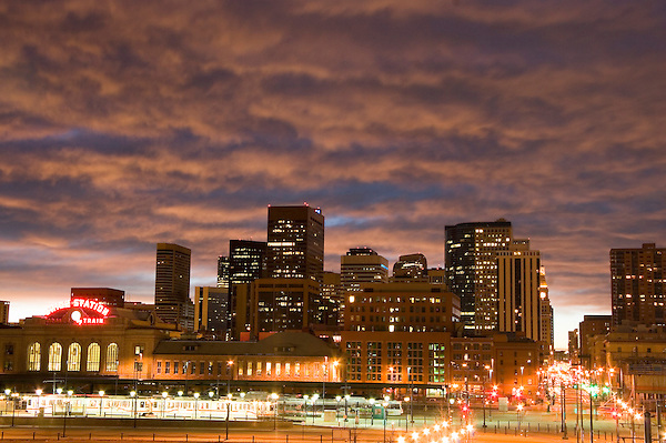 Denver Skyline at  sunrise, Denver, Colorado, USA John offers private photo tours of Denver, Boulder and Rocky Mountain National Park. .  John offers private photo tours in Denver, Boulder and throughout Colorado. Year-round Colorado photo tours.