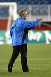 04 September 2004: San Jose head coach Dominic Kinnear has some choice words for referee Michael Kennedy (not pictured) after the game. The San Jose Earthquakes defeated the New England Revolution 1-0 at Gillette Stadium in Foxboro, MA during a regular season Major League Soccer game..