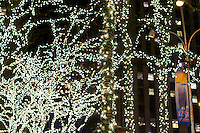 Trees on Sixth Avenue in New York are illuminated in lights for the holiday on Tuesday, December 15, 2015. (© Richard B. Levine)