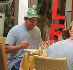 SEPTEMBER 2ND 2013<br /> <br /> ADAM SANDLER EATING AT TRA DI RESTAURANT IN MALIBU CALIFORNIA. ADAM WAS MAKING JOKES LAUGHING WITH HIS WIFE JACKIE , NIA VARDALOS  &amp; RITA WILSON. IN THE PARK. <br /> <br /> AbilityFilms@yahoo.com<br /> 805 427 3519 <br /> www.AbilityFilms.com