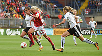 20170803 - BREDA , NETHERLANDS : Danish Pernille Harder (M) with Austrian Laura Feiersinger (L) and Carina Wenninger (R) pictured during the female soccer game between Denmark and Austria  , the semi final at the Women's Euro 2017 , European Championship in The Netherlands 2017 , Thursday 3th of August 2017 at Stadion Rat Verlegh in Breda , The Netherlands PHOTO SPORTPIX.BE | DIRK VUYLSTEKE