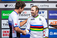 Picture by Alex Whitehead/SWpix.com - 30/09/2018 - Cycling - UCI 2018 Road World Championships - Innsbruck-Tirol, Austria - Elite Men's Road Race - Alejandro Valverde of Spain is presented with his gold medal by Peter Sagan of Slovakia.