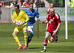 Aberdeen v St Johnstone...28.06.15  Glebe Park, Brechin..Pre-Season Friendly<br /> Danny Ward claims the ball from Steven MacLean<br /> Picture by Graeme Hart.<br /> Copyright Perthshire Picture Agency<br /> Tel: 01738 623350  Mobile: 07990 594431