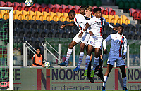 20191022 – OOSTENDE , BELGIUM : heading duel pictured with PSG's Loic Mbe Soh (black shoes) , Thierno Balde (yellow shoes) , Kenny Nagera (blue shoes) and Brugge's Lars Dendoncker during a soccer game between Club Brugge KV and Paris Saint-Germain ( PSG )  on the third matchday of the UEFA Youth League – Champions League season 2019-2020 , thuesday  22 th October 2019 at the Versluys Arena in Oostende  , Belgium  .  PHOTO SPORTPIX.BE   DAVID CATRY