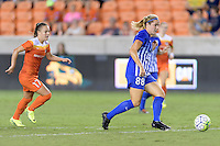 Houston, TX - Sunday Sept. 11, 2016: Andressa Machry, Kathryn Schoepfer during a regular season National Women's Soccer League (NWSL) match between the Houston Dash and the Boston Breakers at BBVA Compass Stadium.