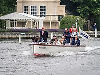 Henley Royal Regatta, Henley on Thames, Oxfordshire, 28 June - 2 July 2017.  Wednesday  09:02:58   28/06/2017  [Mandatory Credit/Intersport Images]<br /> <br /> Rowing, Henley Reach, Henley Royal Regatta.<br /> <br /> Professor N B Rankov, Umpire on Launch HERAKALES also containing Sir Steve Redgrave, Chairman of Henley Royal Regatta