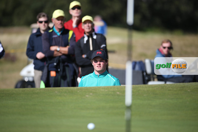 Cormac Sharvin (NIR) goes close to the pin  but the hole is lost on the 12th during Sunday morning Foursome matches of The Walker Cup 2015 played at Royal Lytham and St Anne's, Lytham St Anne's, Lancashire, England. 13/09/2015. Picture: Golffile | David Lloyd<br /> <br /> All photos usage must carry mandatory copyright credit (&copy; Golffile | David Lloyd)