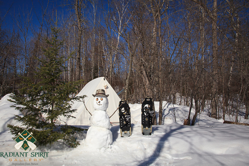 &quot;The Happy Camper&quot;<br /> Who doesn't smile at the sight of a happy snowman?<br /> ~ Day 14 of Inspired by Wilderness: A Four Season Solo Canoe Journey