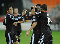 D.C. United forward Dwayne De Rosario (7) celebrates with teammates his score in the 39th minute of the game. Chivas USA tied D.C. United 2-2 at RFK Stadium, Wednesday  September 20 , 2011.