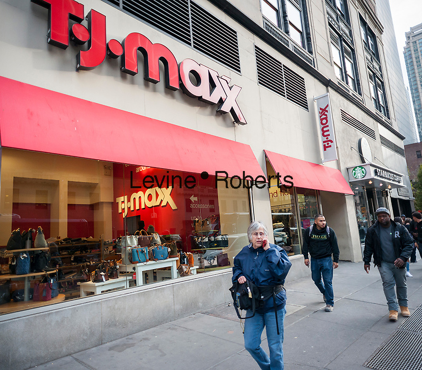 A TJX Cos. brand, T.J. Maxx store in Midtown Manhattan in New York on Monday, November 14, 2016.  The TJX Cos. is scheduled to report third quarter earnings Nov. 15.  (© Richard B. Levine)