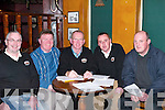 TABLE: Handing out the questions at The Meadowlands Golfing Society Table Quiz in aid of the Kerry Branch of Alzheimer, at The Meadowlands Hotel, Tralee, on Friday were, l-r: Gerry Riordan, Billy Myles, Maurice Laide, Peter O'Driscoll and Francis Chute..