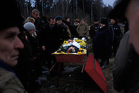 RUSSIA - JAN 03:  A funeral procession in Kaliningrad, Russia in January of 2003. (Photo by Landon Nordeman).