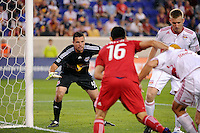 New York Red Bulls goalkeeper Chris Konopka (40) guards the near post. The New York Red Bulls and the Chicago Fire played to a 2-2 tie during a Major League Soccer (MLS) match at Red Bull Arena in Harrison, NJ, on August 13, 2011.