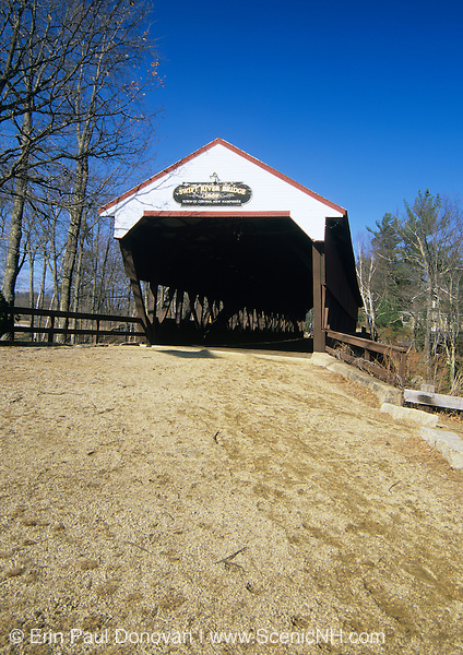 Swift River Covered Bridge in Conway, New Hampshire. This bridge crosses the Swift River.