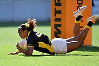 Kolora Lomani of Wellington scores a try during the Farah Palmer Cup - Wellington Pride v Waikato at Westpac Stadium, Wellington, New Zealand on Saturday 28 September 2019. <br /> Photo by Masanori Udagawa. <br /> www.photowellington.photoshelter.com