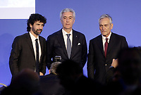 Damiano Tommasi (s), Cosimo Sibilia (c), Gabriele Gravina (d), i tre candidati, posano per una foto all'inizio dei lavori dell'Assemblea per l'elezione del nuovo Presidente della Federazione Italiana Giuoco Calcio (FIGC) Roma, 29 gennaio 2018.<br /> Damiano Tommasi (l) Cosimo Sibilia (c), Gabriele Gravina (r), the three candidates, pose for a photo at the beginning of the election for the Italian Football Federation (FIGC) presidency in Rome, Italy, January 29, 2018. <br /> UPDATE IMAGES PRESS/Isabella Bonotto