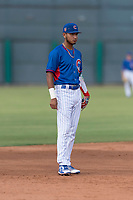 AZL Cubs 2 third baseman Luis Verdugo (18) during an Arizona League game against the AZL White Sox at Sloan Park on July 13, 2018 in Mesa, Arizona. The AZL Cubs 2 defeated the AZL White Sox by a score of 6-4. (Zachary Lucy/Four Seam Images)