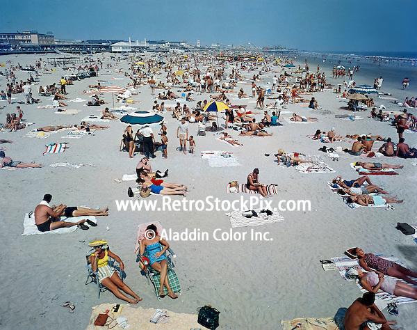 Wildwood NJ very large & crowded Beach. 1960's