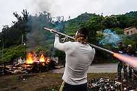 The strikers have erected barricades made from burning tyres. Since 29 May, five miners have sealed themselves 500 metres underground at a mine in Aller. On various occasions, trains have been forced to stop because tree trunks were laid across railway lines.   <br /> <br /> The Civil Guard have used tear gas, batons and rubber bullets, none of which have succeeded in cooling the strikers' ardour. Asturian miners are not generally cowed by such tactics, and pickets have responded with stones and bottle rockets.