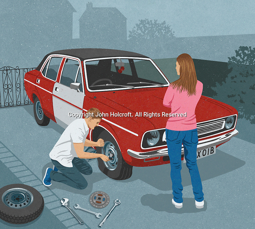 Woman watching man repairing flat tire on old car