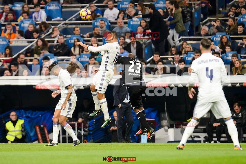 Real Madrid Carlos Henrique Casemiro and Deportivo de la Coruña Ryan Babel during La Liga match between Real Madrid and Deportivo de la Coruña at Santiago Bernabeu Stadium in Madrid, Spain. December 10, 2016. (ALTERPHOTOS/BorjaB.Hojas) /NORTEPHOTO.COM