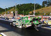 Jun. 15, 2012; Bristol, TN, USA: NHRA funny car driver John Force during qualifying for the Thunder Valley Nationals at Bristol Dragway. Mandatory Credit: Mark J. Rebilas-