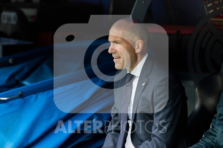 Real Madrid's coach Zinedine Zidane during La Liga match between Real Madrid and SD Eibar at Santiago Bernabeu Stadium in Madrid, Spain.April 06, 2019. (ALTERPHOTOS/A. Perez Meca)