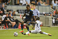 San Jose, CA - Monday July 10, 2017: Cordell Cato, Emmanuel Boateng during a U.S. Open Cup quarterfinal match between the San Jose Earthquakes and the Los Angeles Galaxy at Avaya Stadium.