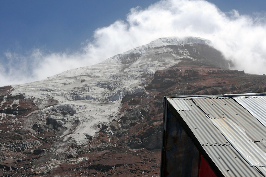 Whymper Hut (upper refuge hut)at elevation 5000 meters  just below the glacier on Mt. Chimborazo. Very thin air!