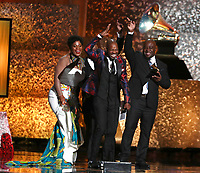 "Soweto Gospel Choir accept the award for best world music album for ""Freedom"" at the 61st annual Grammy Awards on Sunday, Feb. 10, 2019, in Los Angeles. (Photo by Matt Sayles/Invision/AP)"