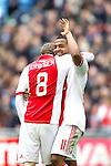 Nederland, AMsterdam, 1 April 2012.Eredivisie.Seizoen 2011-2012.Ajax-Heracles 6-0.Christian Eriksen van Ajax juicht samen met Lorenzo Ebecilio na het scoren van de 3-0