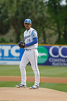 Myrtle Beach Pelicans pitcher Erick Leal (28) on the mound during a game against the Frederick Keys at Ticketreturn.com Field at Pelicans Ballpark on April 10, 2016 in Myrtle Beach, South Carolina. Myrtle Beach defeated Frederick 7-5. (Robert Gurganus/Four Seam Images)