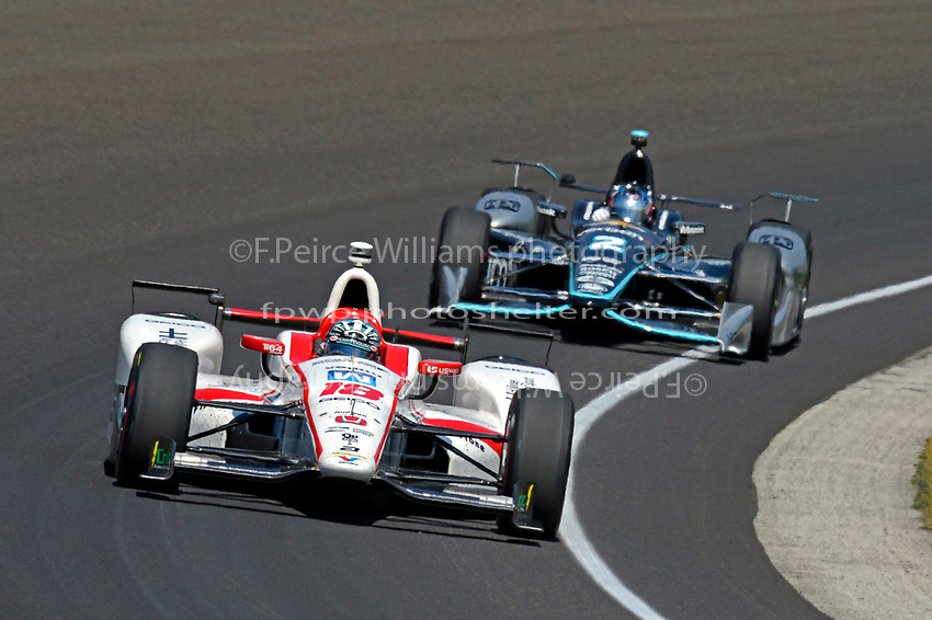 Verizon IndyCar Series<br /> Indianapolis 500 Carb Day<br /> Indianapolis Motor Speedway, Indianapolis, IN USA<br /> Friday 26 May 2017<br /> James Davison, Dale Coyne Racing Honda, Josef Newgarden, Team Penske Chevrolet<br /> World Copyright: F. Peirce Williams