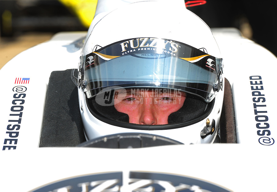 May 19, 2011; Indianapolis, IN, USA; Indy Car Series driver Scott Speed during practice for the Indy 500 at the Indianapolis Motor Speedway. Mandatory Credit: Mark J. Rebilas-
