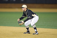 Wake Forest Demon Deacons second baseman Nate Mondou (10) on defense against the Delaware Blue Hens at Wake Forest Baseball Park on February 13, 2015 in Winston-Salem, North Carolina.  The Demon Deacons defeated the Blue Hens 3-2.  (Brian Westerholt/Four Seam Images)