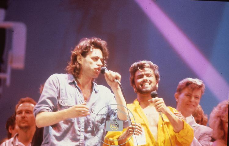 Live Aid 1985 Wembley Stadium, London , England. Bob Geldolf, George Michael, David Bowie