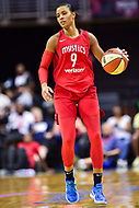 Washington, DC - July 13, 2018: Washington Mystics guard Natasha Cloud (9) handles the ball during game between the Washington Mystics and Chicago Sky at the Capital One Arena in Washington, DC. The Mystics defeat the Sky 88-72 (Photo by Phil Peters/Media Images International)