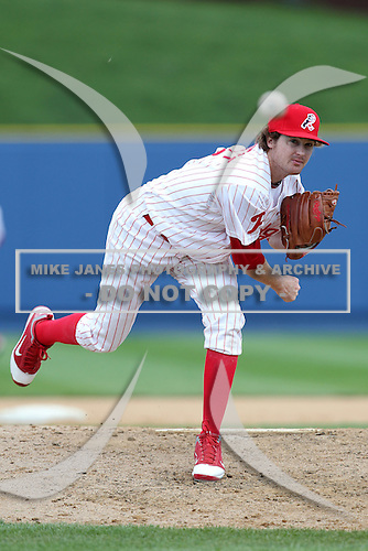 Reading Phillies pitcher Tyson Brummett #13 delivers a pitch during a game against the New Hampshire Fisher Cats at FirstEnergy Stadium on May 5, 2011 in Reading, Pennsylvania.  New Hampshire defeated Reading by the score of 10-5.  Photo By Mike Janes/Four Seam Images