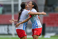 Bridgeview, IL - Saturday July 22, 2017: Jennifer Hoy, Christen Press during a regular season National Women's Soccer League (NWSL) match between the Chicago Red Stars and the Orlando Pride at Toyota Park. The Red Stars won 2-1.