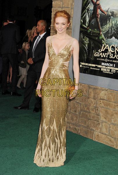 "Eleanor Tomlinson.""Jack The Giant Slayer"" Los Angeles Premiere held at Grauman's Chinese Theatre, Hollywood, California, USA..February 26th, 2013.full length gold dress metallic beads beaded cleavage clutch bag.CAP/ROT/TM.©Tony Michaels/Roth Stock/Capital Pictures"