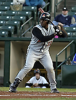 April 26, 2004:  Sandy Martinez of the Buffalo Bisons, International League (AAA) affiliate of the Cleveland Indians, during a game at Frontier Field in Rochester, NY.  Photo by:  Mike Janes/Four Seam Images