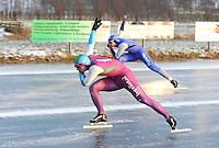 KORTEBAAN: BANTEGA: IJsvereniging de Polder, 16-01-2013, Schaatsseizoen 2012-2013, Kortebaanwedstrijd, Finalerit, Jesper Hospes wint van Coen Otterspeer, ©foto Martin de Jong