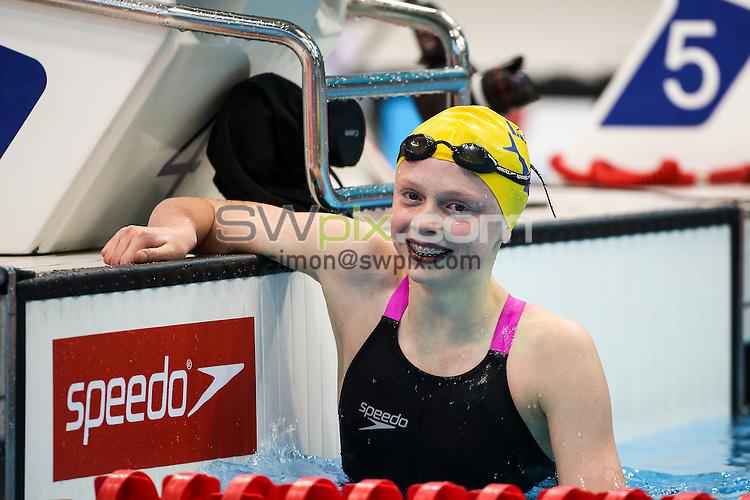 Picture by Alex Whitehead/SWpix.com - 14/04/2015 - British Swimming Championships 2015 - London Aquatics Centre, Queen Elizabeth Park, England - Georgia Coates wins Gold in the Girls Junior (EG) 100m Freestyle - Final.