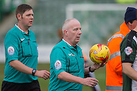 Referee Philp Gibbs leaves the field at half time during the Sky Bet League 2 match between Plymouth Argyle and Wycombe Wanderers at Home Park, Plymouth, England on 30 January 2016. Photo by Mark  Hawkins / PRiME Media Images.