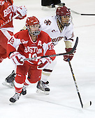 Jillian Kirchner (BU - 18), Blake Bolden (BC - 10) - The Boston College Eagles defeated the Boston University Terriers 2-1 in the opening round of the Beanpot on Tuesday, February 8, 2011, at Conte Forum in Chestnut Hill, Massachusetts.