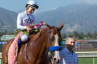 ARCADIA, CA  APRIL 7: Mike Smith, tosses flowers in the air after #6 Justify wins the Santa Anita Derby (Grade l) on April 7, 2018, at Santa Anita Park in Arcadia, Ca.  (Photo by Casey Phillips/ Eclipse Sportswire/ Getty Images)